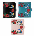 Shagwear Swallows and Roses Small Zipper Bi-Fold Wallet (Choose Color)