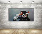 Hand-painted Wall Art Thinking Monkey With Headphone Oil Painting Canvas Decor