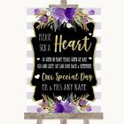 Wedding Sign Poster Print Gold  Purple Stripes Sign a Heart
