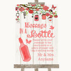 Wedding Sign Poster Print Coral Rustic Wood Message In A Bottle