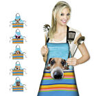 Dog Pattern Apron Dress Home Kitchen Cleaning Baking Anti-wear Party Women 1pc
