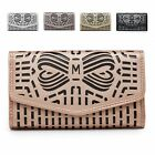 Ladies Laser Cut Faux Leather Purse Girls Bow Wallet Handbag Clutch M04A-353