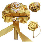 Brooch Wedding Bouqeut Set Bride Holding Artificial Flower With Rhinestone Pearl
