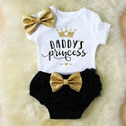 3PCS Cute Newborn Baby Girl Outfits Clothes Tops Romper+ Tutu Shorts Pants Set US