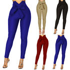Ladies Casual High Waist Long Pants Bow-knot Belt Women Solid Color Trousers