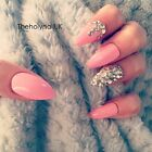 FALSE NAILS - Light Pink Diamante Cluster - Stick On - The Holy Nail