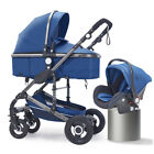 Luxury Baby Stroller 3 In 1 Bassinet Car Seat High View Pram Foldable Pushchairs