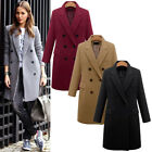 Fashion Women Winter Lapel Wool Coat Trench Jacket Long Parka Overcoat Outwear