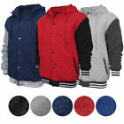 Внешний вид - Men's Heavyweight Quilted Snap Button Sherpa Lined Varsity Jacket Hoodie