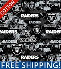 "Oakland Raiders NFL Cotton Fabric - 45"" Wide - Style# 70109 - Free Shipping! $15.95 USD on eBay"