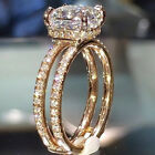 Womens 14k Yellow Gold Double Crown Diamond Rings Wedding Engagement Jewelry UK