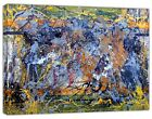 Jackson Pollock Style blue yellow Abstract oil paint  Reprint On Framed Canvas