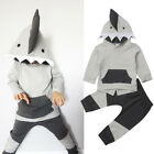 US Stock Kids Toddler Baby Boy Shark Hooded Tops Coat Pants Outfit Clothes 6M-4T