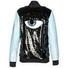 CHIARA FERRAGNI WOMEN'S SWEATSHIRT ZIP UP NEW  LOGOMANIA BLACK BB6