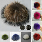 10/12cm Large Faux Raccoon Fur Pom Pom Ball With Press Button For Knitting Hat