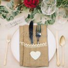 100×Natural Hessian Burlap Cutlery Holder Pouch Rustic Wedding Tableware Pocket