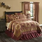 Red Primitive Bedding Cody Burgundy Star Quilt Cotton Star Patchwork image