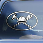 Oil Field Oval Decal - oilfield worker roughneck hard hat emblem logo sticker