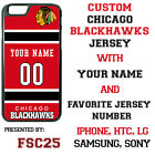 Chicago Blackhawks Personalized Hockey Jersey Phone Case Cover for iPhone etc.