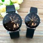 Fashion Womens Mens Lovers Students Couple Watch Leather Band Quartz Wrist Watch image