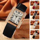 Fashion Women Girl Square Dial Adjustable Leather Strap Quartz Time Wrist Watch image