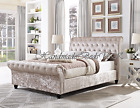 Crushed Velvet Sleigh Style Chesterfield Bed Frames Matching Buttons Diamantes