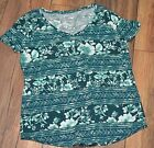 Sonoma The Everyday Tee Short Sleeve V Neck T-Shirt Green Floral Print