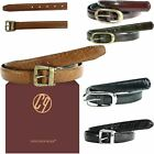 New Casual Everyday Ladies Genuine Leather Basic Buckled Textured Belts