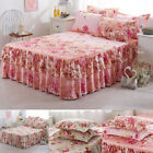 Pink Floral Bed Skirts Quilt Duvet Cover Pillowcase Bedding Queen Bed 48*74 Cm image