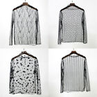 Women Black See-through Sheer Mesh Blouse Long Sleeve Top Tee T-Shirt Clubwear