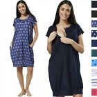 Happy Mama Women's Maternity Labor Delivery Hospital Gown Print Nightshirt 537p