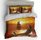 3D Sunset Mermaid Sailboat Duvet Cover Bedding Set Pillowcase Quilt Cover Set