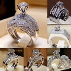 Fashion Women 925 Silver Wedding Set Rings Round Cut White Sapphire Size 5-12 image