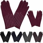 New Casual Ladies Faux Suede Classic Diamante Pattern One Size Warm Gloves