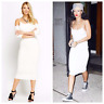 Womens Long Sleeve White Long Cold Shoulder Midi Jersey Party Stretch Calf Dress