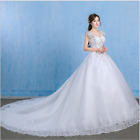 New White Lace Off Shoulder Wedding Dress Bridal Ball Gowns Custom Made Uk 6-28