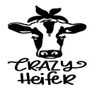 Crazy Heifer Cow Vinyl Decal Sticker Home Wall Cup Car Decor Choose Size Color