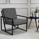 VINTAGE RETRO METAL FRAME ARMCHAIR TUB CHAIR SOFA EASY LOUNGE SOFT ACCENT BACK