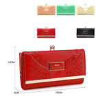 Ladies Faux Leather Laser Cut Purse Patent Kiss Clasp Purse Handbag 0444-87