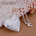 "Wholesale 925 Sterling Silver Heart Necklace, Locket Photo Pendant 18"" Inches N1 image"