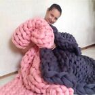 Large Wool Knit Throw Bulky Handmade Chunky Yarn Soft Blanket Sofa Bed Thicken image