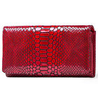 Luxury Womens Genuine Leather Wallet Snake Trifold Clutch Wallet RFID Blocking image