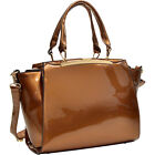 Dasein Patent Faux Leather Winged Satchel 4 Colors