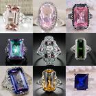 Fashion 925 Silver Emerald Sapphire Amethyst Gemstone Women Wedding Ring Sz6-10