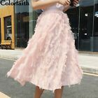 Women Midi Skirt Spring Summer Ladies Fashion Feather Applique Flare Long Skirts