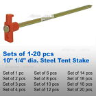 """(LOT of 1-20) 10"""" 1/4"""" dia Forged Electroplated Steel Metal Tent Stake Nail Peg"""