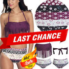 Floral Dot High Waist Bottom Fringed Purple Halter Bandeau Bikini Swimsuit S-M $5.25 USD on eBay
