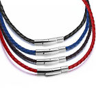 3mm Women's Braided Genuine Leather Cord Stainless Steel Secure Clasp Necklace  image