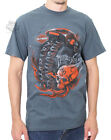Harley-Davidson Mens Obsession Flaming Skull Slate Blue Short Sleeve T-Shirt $9.99 USD on eBay