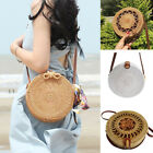 Beach Bag Round Handwoven Rattan Circle Handmade Women Bamboo Straw Satchel Gift